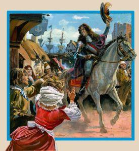 Monmouth docks at Lyme Regis to start his abortive Rebellion (June 1685)
