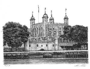 The Tower of London, whence General Dalyell escaped in 1652
