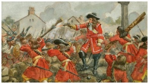 William Cleland commanding the Earl of Angus' regiment during the battle.