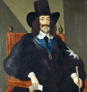 Charles I at his trial. Parliament had sacked his barber and he would let no-one near him with a razor.
