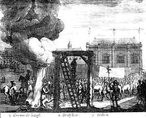 Cromwell's corpse is hanged (with his fellow regicides Bradshaw and Ireton)