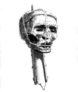 Cromwell's severed head, as pictured in 1700. It's present whereabouts are unknown